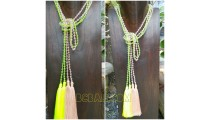 long tassels seeds necklaces double beads crystal