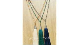 exclusive silver king cup tassels beads necklaces bali