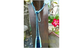 single strand long seed beads tassels necklaces crystal