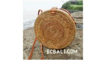 ata grass hand woven circle design handbag leather strap long handle