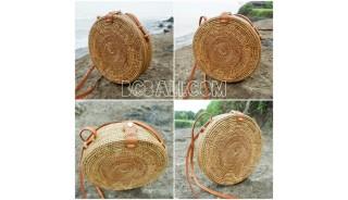 ata grass hand woven circle design handbag leather strap long handle