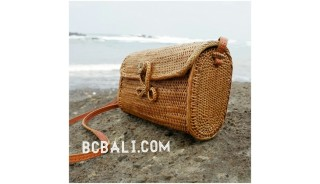ata grass rattan handbag purses ladies long handle leather