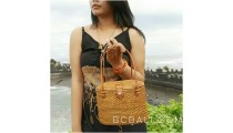 ata grass straw woven tote bag bali handmade leather handle