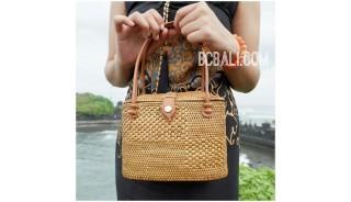 ata grass straw woven tote bag bali handmade leather handle