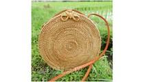 circle bag ata grass hand woven flower strap handmade