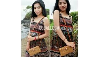 bali ethnic rattan grass handmade handbag leather handle