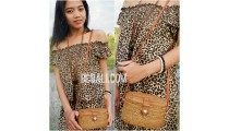 ethnic hand woven grass ata small bags handmade leather strap
