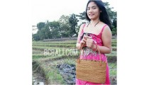 handbags ata grass rattan handle leather handmade bali