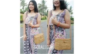 ladies handbag oval ata grass rattan handwoven made in bali