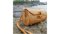 large cylinder handbag style handmade full woven grass straw rattan strap