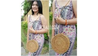 star circle disc women bag ata grass rattan flower strap bali handmade