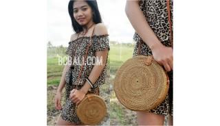 women handbag ata grass rattan circle leather strap
