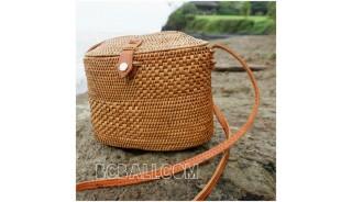 women handbag long handle leather ata rattan grass handmade bali