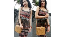 women handbag long handle leather ata rattan grass handmade bali