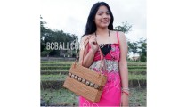 women ladies handbag from grass straw hand woven