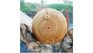 around circle handbags ethnic unique style full handmade hand woven rattan