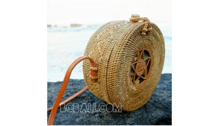 around circle straw rattan grass ata bags motif with lining fabric bali style