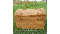 ethnic cosmetic box handmade from rattan ata grass hand woven