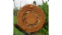 bali handmade circle handbag rattan grass hand woven unique design
