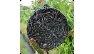 black color ata rattan handbag handwoven handmade circle design