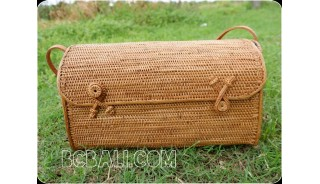 cosmetic handbag rattan handmade grass handwoven antique