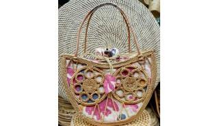 handmade fashion ata grass rattan handwoven balinese fan design