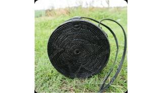 new black color ata rattan grass handwoven handbag circle design