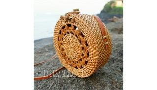 new rattan handbags circle design motif bow close handle leather