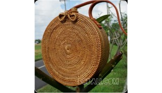 rattan hand woven ata handbag lining full handmade circle short handle