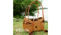 bali ethnic small tote handbag rattan grass with coco button handmade