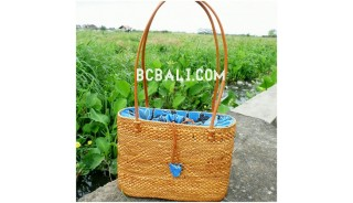 balinese designer straw rattan handwoven handbag leather handle