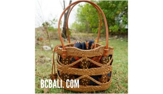 balinese style handwoven ata grass woman tote bag with batik lining