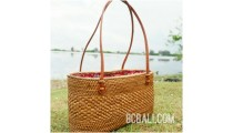 beach handbag natural design ata straw rattan hand woven leather