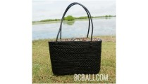 black ata grass rattan full handwoven handbag bali design