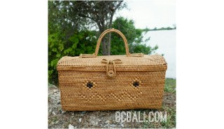 container box handbag ethnic travel rattan grass natural design