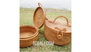 cosmetic circle design large bags ata grass handwoven bali style
