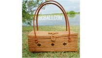 fashion square handbag ata rattan brass flower strap leather handle