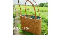 full handmade handbag straw grass handwoven ethnic process