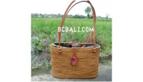 handmade ethnic design rattan grass straw handbag bali