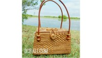 ladies fashion handmade natural grass ata rattan tote handbag bali
