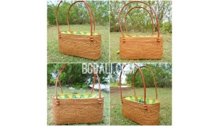 ladies handbag leather handle straw ata grass with lining