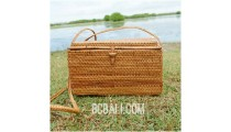 natural ethnic design grass ata handwoven square bag handmade bali