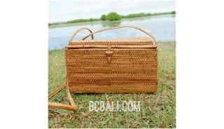 natural ethnic design grass ata handwoven square bag handmade bali
