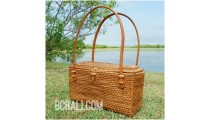 organic grass rattan hand woven bags purses handmade leather handle