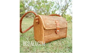 rattan handbag leather strap school bag hand woven full handmade style