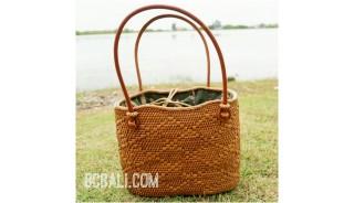 unique ethnic tote bag purse rattan grass handwoven leather handle