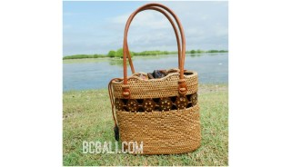 women tote bag straw rattan ata hand woven casual ethnic design