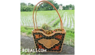 wooden handbag with grass straw rattan full handmade unique
