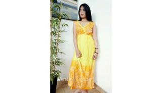 bali fashion batik rayon printing long dress pattern clothes design yellow