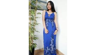 bali fashion batik rayon printing long dress patterned design blue color